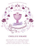 Purpurfärgad flickas första nattvardinbjudan med bägaren och blommor stock illustrationer