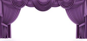 Purpurfärgad gardin inramar Royaltyfri Bild