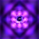 Purpurfärgad glödande atom royaltyfri illustrationer
