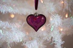 Purpurfärgad glass julstruntsak Arkivfoton