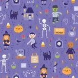 Purpurfärgad halloween sömlös toppen modell royaltyfri illustrationer