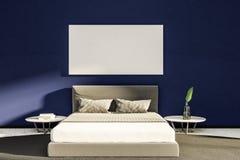 Purpurfärgad inre för ledar- sovrum, vit säng, affisch vektor illustrationer
