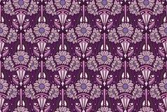Purpurfärgad jugendstiltapet Royaltyfria Bilder