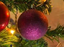 Purpurfärgad julbollgarnering Arkivfoto