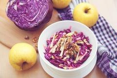 Purpurfärgad kålsallad och ingredienser Arkivfoto