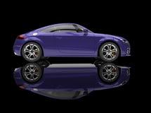Purpurfärgad kraftig bil på svart bakgrund Arkivbild