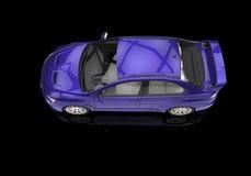 Purpurfärgad kraftig modern bil på svart bakgrund Arkivbilder