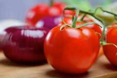 Purpurfärgad lök och tomat Arkivbild