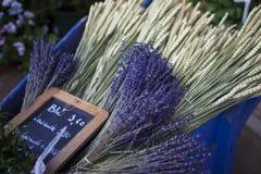 Purpurfärgad lavendel samlar ihop på marknadsplatsen, Provence, Frankrike Royaltyfri Foto
