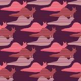 Purpurfärgad och rosa sömlös snigelloppkontur royaltyfri illustrationer