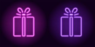 Purpurfärgad och violett neongåvaask Royaltyfria Bilder