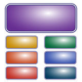 Purpurfärgad rektangulär knapp för vektor knappar färgade den set vektorn för den olika illustrationen Arkivbild