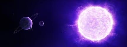 Purpurfärgad sol i utrymme med planeter royaltyfri illustrationer