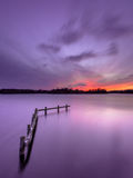 Purpurfärgad solnedgång över den stillsamma sjön med den träförtöja stolpen Royaltyfri Fotografi