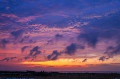 Purpurfärgad solnedgång Royaltyfria Bilder