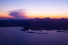 Purpurfärgad solnedgång i Palma de Mallorca Port Arkivfoto