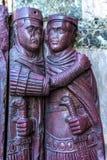 Purpurfärgad staty St Mark & x27 för fyra Tetrachs; s-kyrka Venedig Italien Royaltyfria Bilder