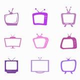 Purpurfärgad television Royaltyfri Bild