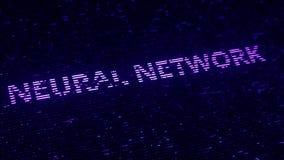 Purpurfärgad text för NERV- NÄTVERK som göras med luminiscenta partiklar för flyg Loopable 3D animering stock illustrationer