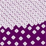 Purpurfärgad violett bakgrund av vita fyrkanter och trianglar stock illustrationer