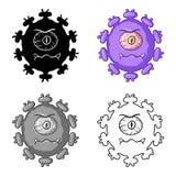 Purpurfärgad virussymbol i tecknad filmstil som isoleras på vit bakgrund Virus och illustration för vektor för bacteriessymbolmat Royaltyfria Foton