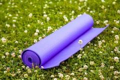 Purpurfärgad yogaövning Mat On Green Grass fotografering för bildbyråer