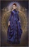 Purpurfärgade Belle Epoque Gown, 3d CG Arkivfoto