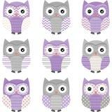 Purpurfärgade Grey Cute Owl Collections vektor illustrationer