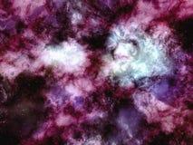 Purpurfärgade moln av nebulosan med stjärnor i yttre rymd Royaltyfri Illustrationer