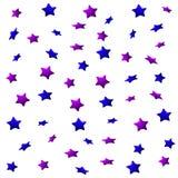 Purpurfärgade och blåa stjärnor på en vit bakgrund, sömlös ändlös modell royaltyfri illustrationer