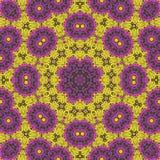 Purpurfärgade, röda och gula blommor på blomsterrabatten vektor illustrationer
