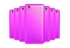 Purpurfärgade telefoner Fotografering för Bildbyråer