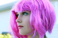 Purpurfärgat hår Fotografering för Bildbyråer