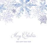 Purpurfärgat kort för snöflingajulhälsning, vektorbakgrund royaltyfria foton