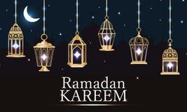 Purpurfärgat ljust baner för Ramadanlykta stock illustrationer
