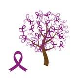 Purpurfärgat medvetenhetbandträd stock illustrationer