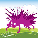 Purpurfärgat roligt monster för din design Arkivbilder