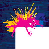 Purpurfärgat roligt monster med kortet Vektor Illustrationer