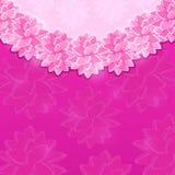 Purpurfärgat tappningkort med runda fantasiblommor Royaltyfri Foto