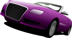 Purpurf?rgad cabriolet p? v?gen royaltyfri illustrationer