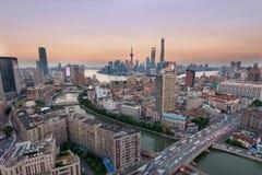Purpurfärgad horisont, Shanghai Royaltyfria Bilder