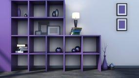 Purpurfärgad hylla med vaser, böcker och lampan Arkivfoto