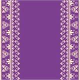 Purpurfärgad indisk hennagränsdesign Fotografering för Bildbyråer