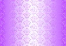 Purpurfärgad wallpaper med prydnadar Arkivbilder