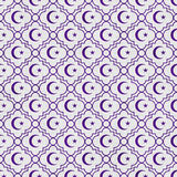 Purpurfärgade och vita stjärna- och Crescent Symbol Tile Pattern Repeat lodisar Royaltyfri Fotografi