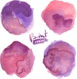 Purpurowa akwarela malować wektor plamy ustawiać Zdjęcie Royalty Free