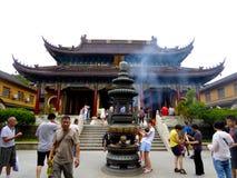 Purpurowa bambusowa gaj świątynia Obrazy Stock