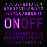 Purpurowa Neonowego światła abecadła chrzcielnica Dwa różnego stylu Światła dalej lub daleko Obraz Stock