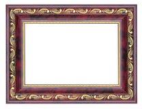 Purpurowa obrazek rama z pozłocistym wzorem odizolowywającym Zdjęcie Royalty Free