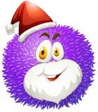 Purpurowa puszysta piłka z Santa kapeluszem ilustracja wektor